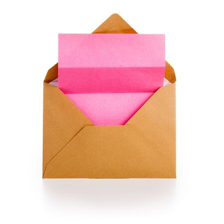 Envelope with blank pink notepad on white background Stock Photo - 16612498