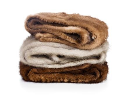 mink: Tre scialli visone su sfondo bianco Archivio Fotografico