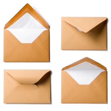 Four brown envelopes, collection on white background photo