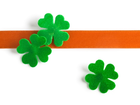 Lucky clover with bow for Patricks Day clipping path included Stock Photo - 17077513