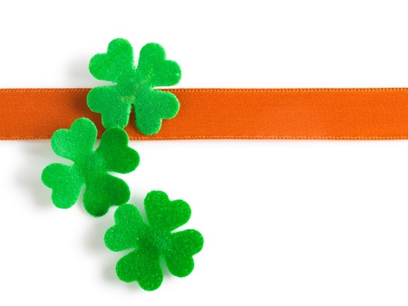 Green clovers and bow for Patricks Day clipping path included Stock Photo - 17077515