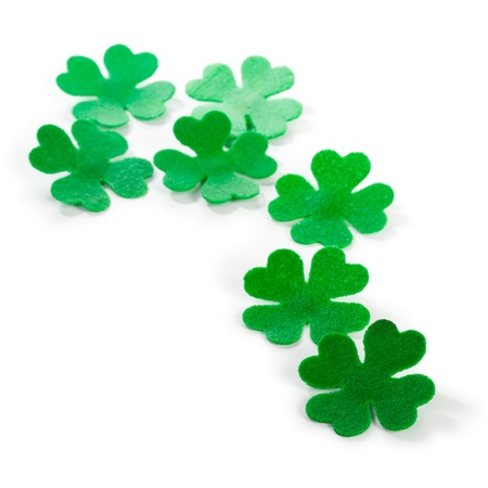 Trail of green clovers for Patricks Day clipping path included Stock Photo - 17077441