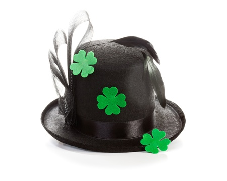 Shamrock black hat with four leaf clover for Patricks Day Stock Photo - 17077480
