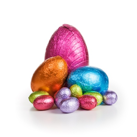 Middle group of chocolate candy Easter eggs wrapped in foil