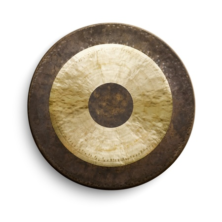 Traditional oriental gong on white background, front view photo