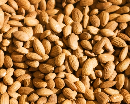 Shelled almond nuts at farmers market in Turkey