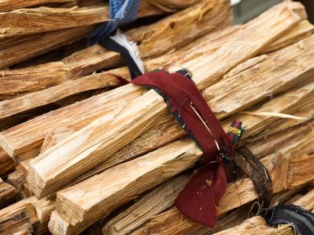 kindling: Bundle of kindling wood for sale at farmers market