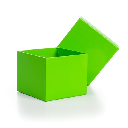 Opened empty green gift box with lid on white background clipping path included photo