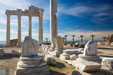 Roman ruins of the Temple of Apollo, Side, Turquoise Coast, Antalya Province, Turkey Stock Photo