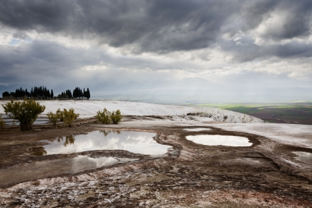 Travertine terraces, Pamukkale, Hierapolis, Turkey photo