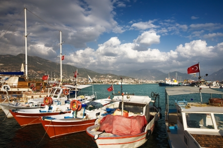 Boats in harbour of Alanya, Turkey, Middle East photo