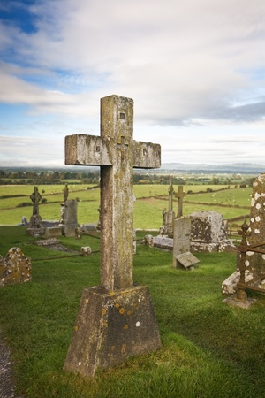 Celtic crosses at graveyard, Rock of Cashel, Ireland photo