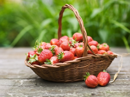 strawberry baskets: Red strawberries in a basket on wooden table against garden background