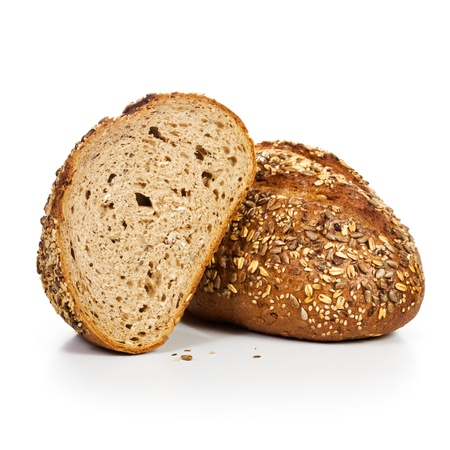 bread slice: Fresh whole grain bread cut in half on white background