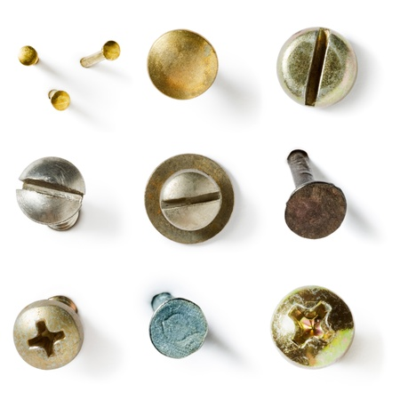 rusty nail: Screw and nail heads collection on white background Stock Photo