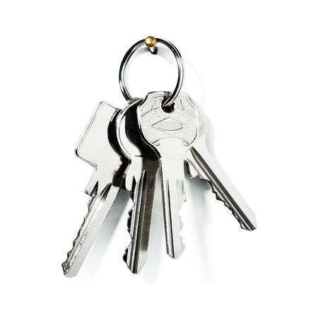 color key: Key ring with new keys on on white background