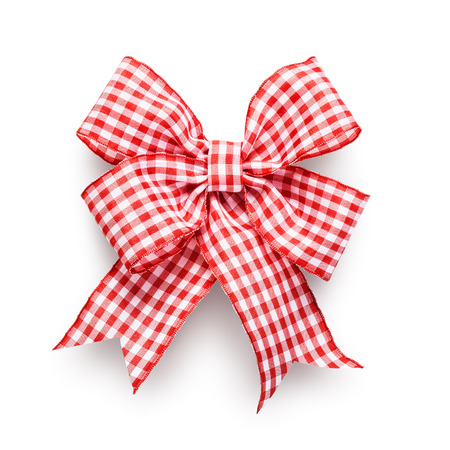 included: Red and white checkered ribbon bow isolated on white background clipping path included