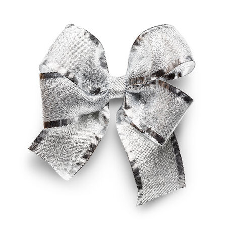 silver ribbon: Silver ribbon bow isolated on white background clipping path included Stock Photo