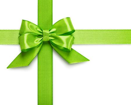 含まれる白い背景クリッピング パスで分離された緑のリボン弓 写真素材