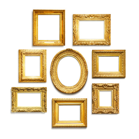 Set of antique golden frames on white background