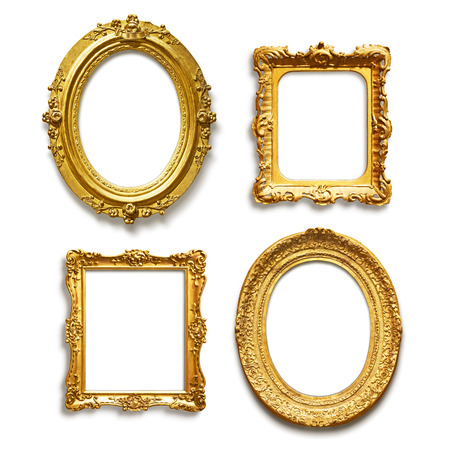 Set of four antique golden frames on white background