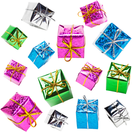Flying colorful gift boxes collection isolated on white background photo