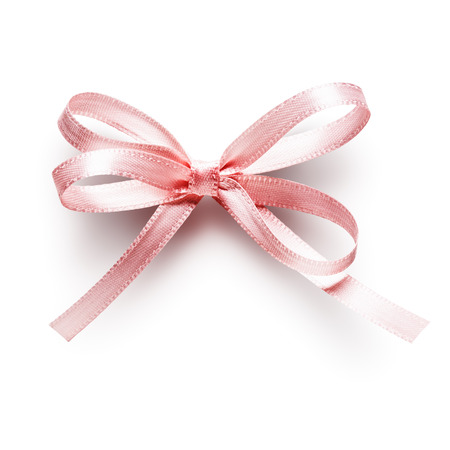 Pink small ribbon bow isolated on white background Stock Photo