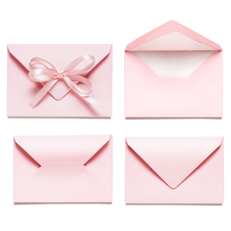 Light pink envelopes with bow ribbon collection isolated on white background