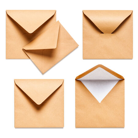 open envelope: Brown square envelopes collection isolated on white background Stock Photo