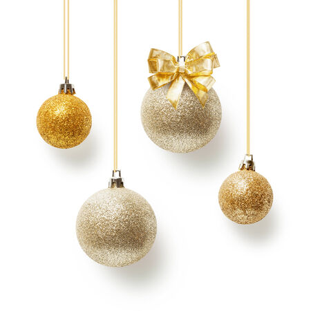 Gold christmas balls decorated with bow ribbon, collection on white background
