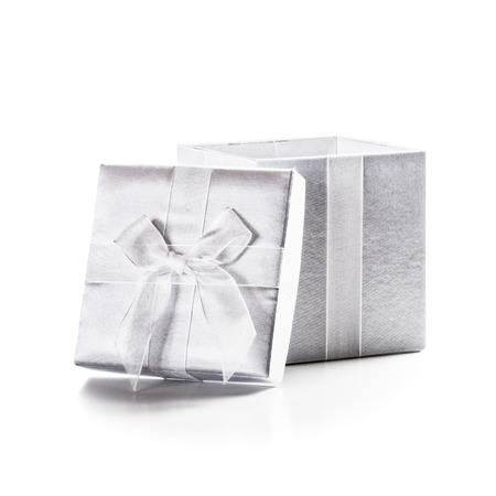 White box with ribbon bow isolated on white background clipping path included