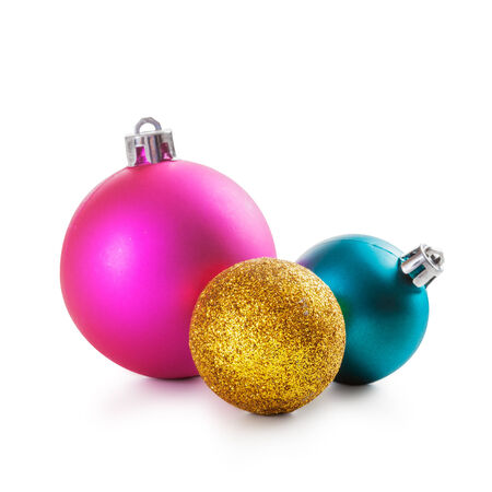 pink christmas: Pink, gold and blue christmas balls on white background clipping path included