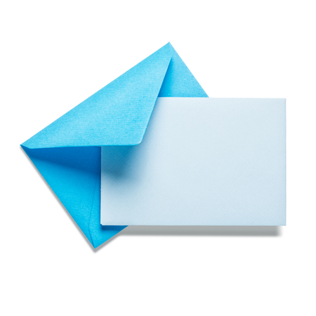envelope design: Blue envelope with card on white background, clipping path included