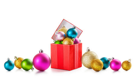Colorful christmas border with gift box and baubles on white background photo