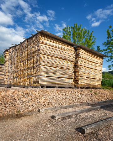 forestry industry: Stacks of wooden boards at the lumber yard