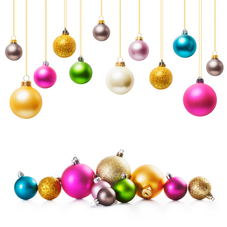 christmas  ornament: Colorful christmas balls collection on white background