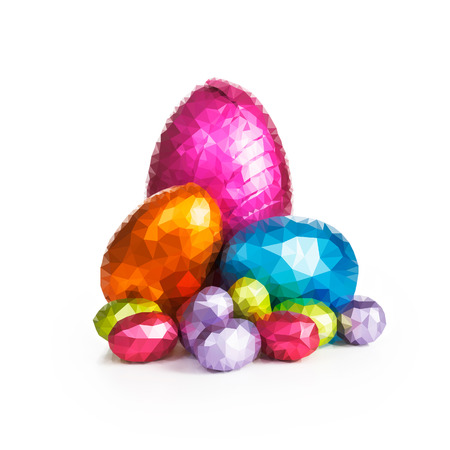 Easter eggs created from polygons illustration on white background illustration