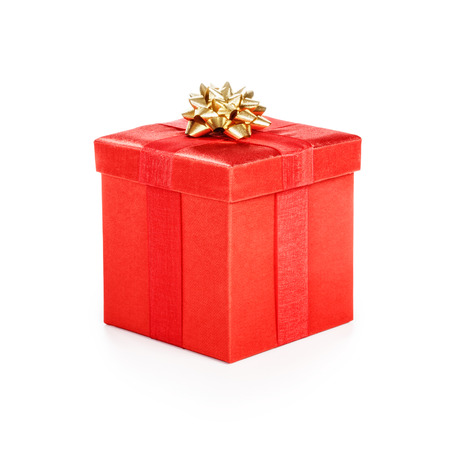 Gift box with gold ribbon. Christmas theme. Object isolated on white background. Clipping path. Stock Photo