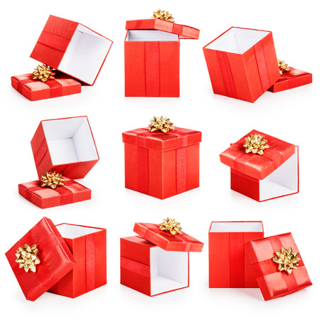 Red gift boxes with gold ribbon bow collection isolated on white background. Christmas themes Standard-Bild