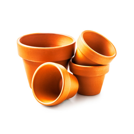 Clay flower pots isolated on white background Foto de archivo