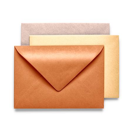 Vintage brown envelopes isolated on white background photo