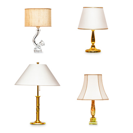 table lamps: Classic table lamps collection isolated on white background Stock Photo