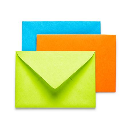 envelope: Green, orange and blue envelopes on white background Stock Photo
