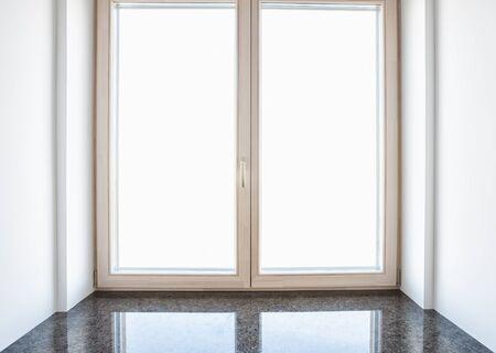 windowsill: Modern residential window with marble windowsill