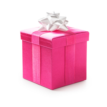 Pink gift box with white ribbon bow. Holiday present. Object isolated on white background. Clipping path