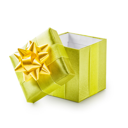 open present: Open green gift box with yellow ribbon bow. Holiday present. Object isolated on white background. Clipping path