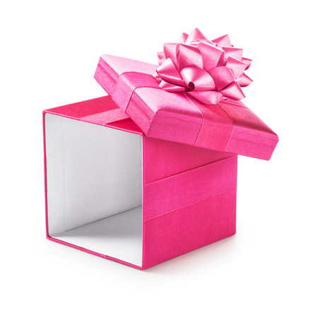 gift box open: Open pink gift box with ribbon bow. Holiday present. Object isolated on white background. Clipping path