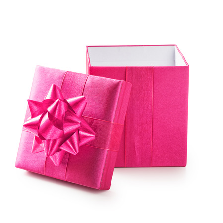 square box: Open pink gift box with ribbon bow. Holiday present. Object isolated on white background. Clipping path
