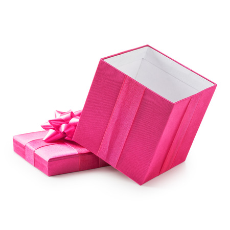 white bow: Open pink gift box with ribbon bow. Holiday present. Object isolated on white background. Clipping path