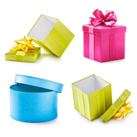 open present: Colorful gift boxes collection. Holiday present. Objects isolated on white background